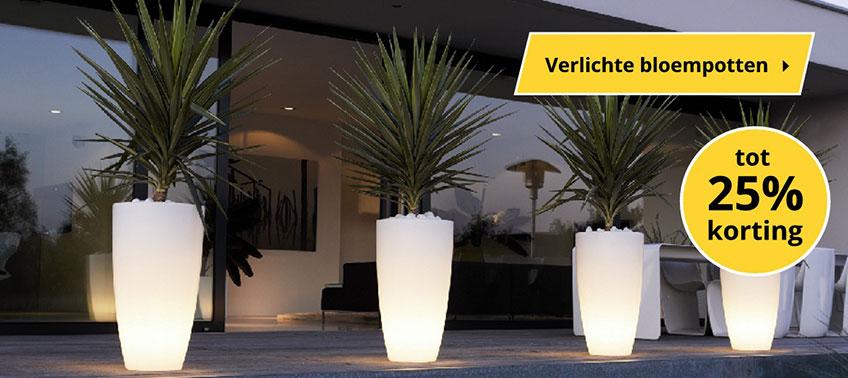 Verlichte bloempotten | Wishpel-Tuinverlichting.nl